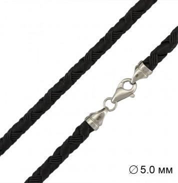 Черный | Плетеный шелк  4.0 мм | с серебряной застежкой 6702-4