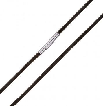 Крученый шелк Черный 3.0 мм с серебряной застежкой 6705-4