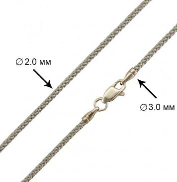 Плетеный шелк Серебряный 2.0 мм с серебряной застежкой 6805