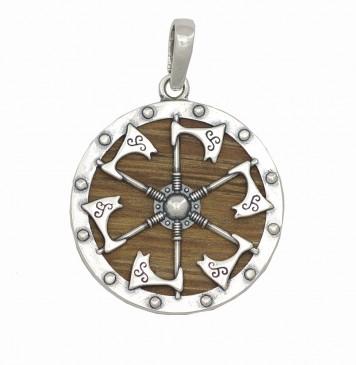 Серебряный кулон оберег Яроврат на деревяной основе 8019-4