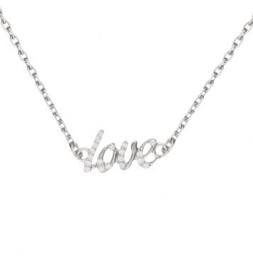 Колье из серебра  Love с цирконием 9215