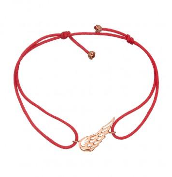 Безразмерный красный браслет с золотой вставкой Крыло Ангела z4085-K