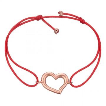 Безразмерный красный браслет с золотой вставкой Сердце z4087-K