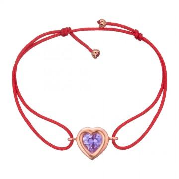 Безразмерный красный браслет с золотой вставкой Сердце с камушком z4094-K