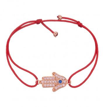 Безразмерный красный браслет с золотой вставкой Хамса z4097-K