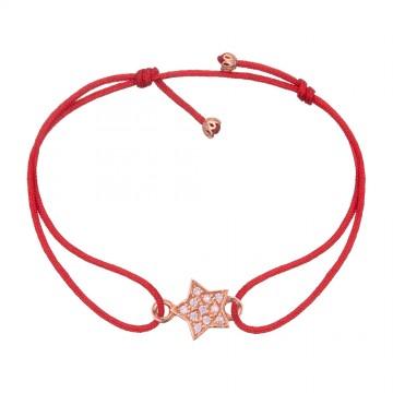 Безразмерный красный браслет с золотой вставкой Звезда с камнями z4099-K