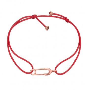 Безразмерный красный браслет с золотой вставкой Булавка z4124-K