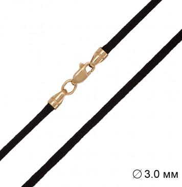 Гладкий шелк | Черный 3.0 мм | С золотой застежкой z6152-K