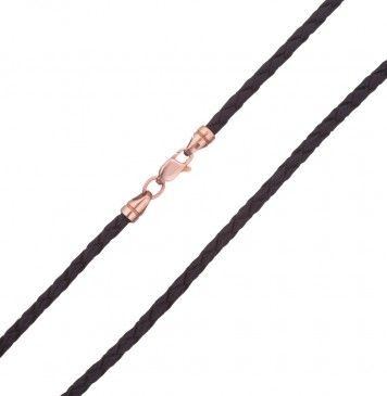 Плетеная кожа Черная 3.0 мм с золотой застежкой z6532-K